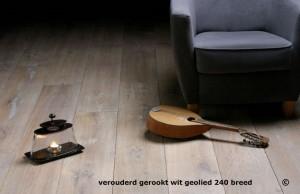 Half-massieve vloer, verouderd gerookt wit en geolied